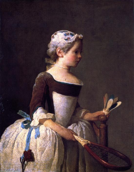 Girl with Shuttlecock, 1737 by Jean-Baptiste Simeon Chardin (1699-1779, France) | Museum Art Reproductions Jean-Baptiste Simeon Chardin | WahooArt.com