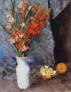 Carl Eduard Schuch - Gladioli and oranges
