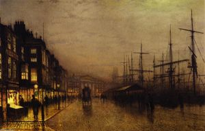 John Atkinson Grimshaw - Glasgow Docks by Moonlight
