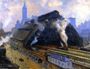 Colin Campbell Cooper - Glass Train Shed, Broad Street Station, Philadelphia