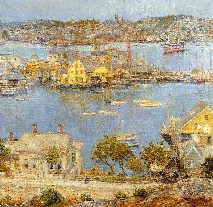 Gloucester Harbor, 1899 by Frederick Childe Hassam (1859-1935, United States) | Museum Art Reproductions Frederick Childe Hassam | WahooArt.com