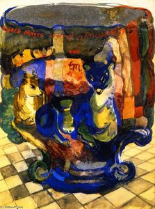 Franz Marc - Goblet with Fox and Roebuck