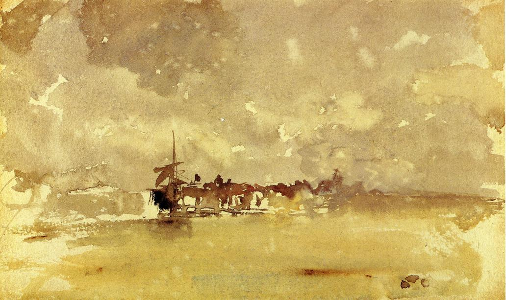 Gold and Grey: the Sunny Shower - Dordrecht, Watercolour by James Abbott Mcneill Whistler (1834-1903, United States)