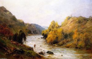 Alfred De Breanski Senior - The Golden Valley, Fishing on the Dee