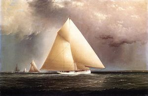 James Edward Buttersworth - 'Gracie', 'Vision' and 'Cornelia' rounding Sandy Hook in the New York Yacht Club Regatta of June 11, 1874