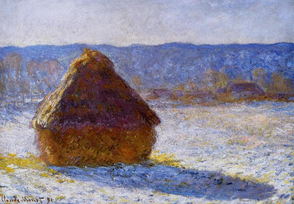 Grainstack in the Morning, Snow Effect, Oil On Canvas by Claude Monet (1840-1926, France)