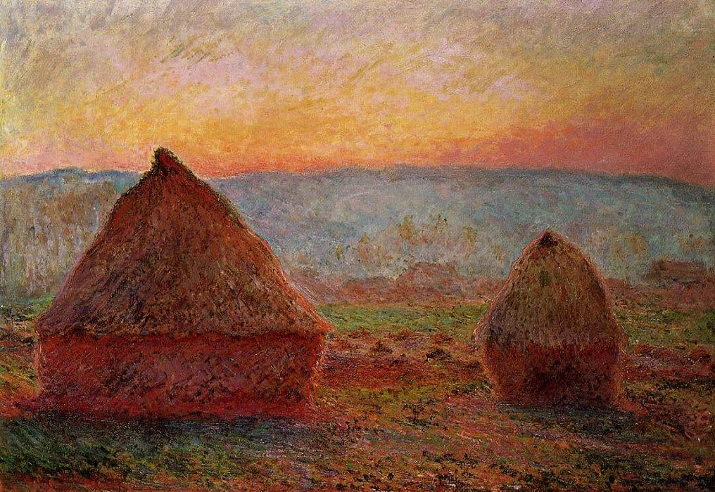 Grainstacks at Giverny, Sunset, 1888 by Claude Monet (1840-1926, France) | Museum Quality Reproductions | WahooArt.com