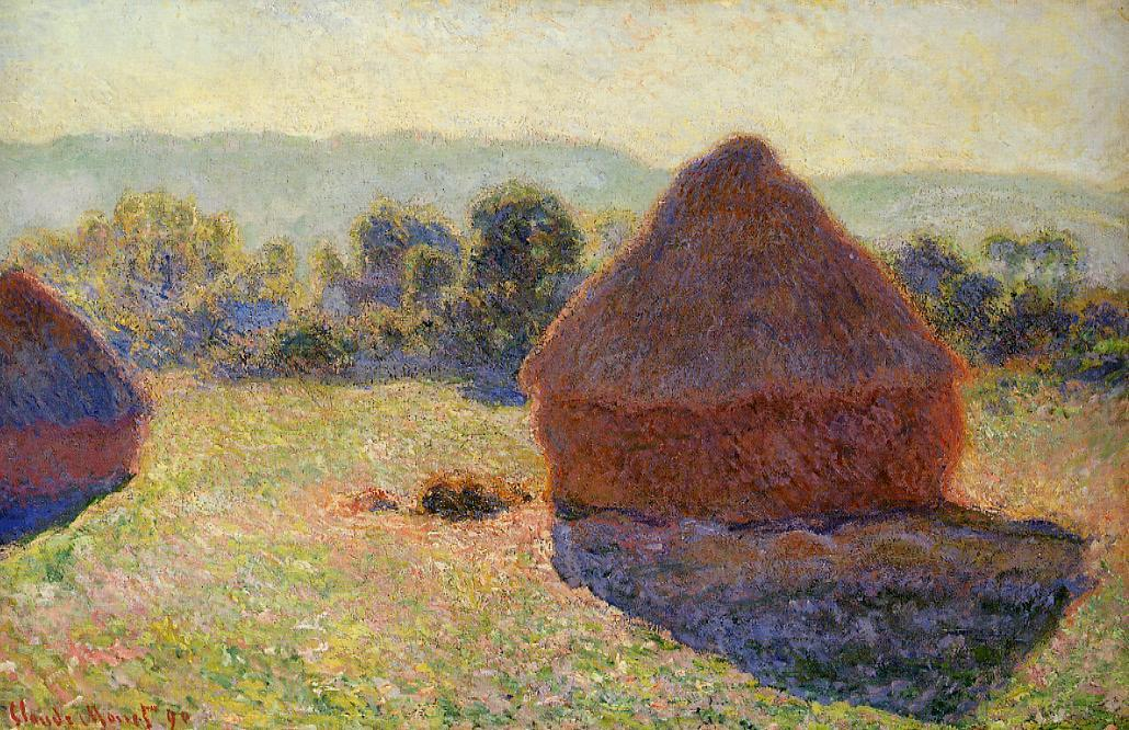 Grainstacks in the Sunlight, Midday, Oil On Canvas by Claude Monet (1840-1926, France)