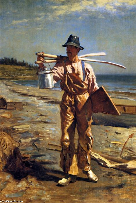 Grand Manan Fisherman Bringing Home His Oars, 1878 by John George Brown (1831-1913, United Kingdom) | Museum Quality Reproductions | WahooArt.com