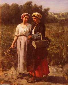 Jules Adolphe Aimé Louis Breton - The Grape Harvest at the Chateau-Lagrange