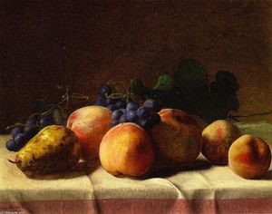 George Hetzel - Grapes, Peaches and Pear on a Table
