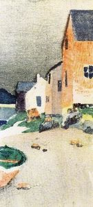 Arthur Wesley Dow - A Gray Day (also known as Houses on a Beach)