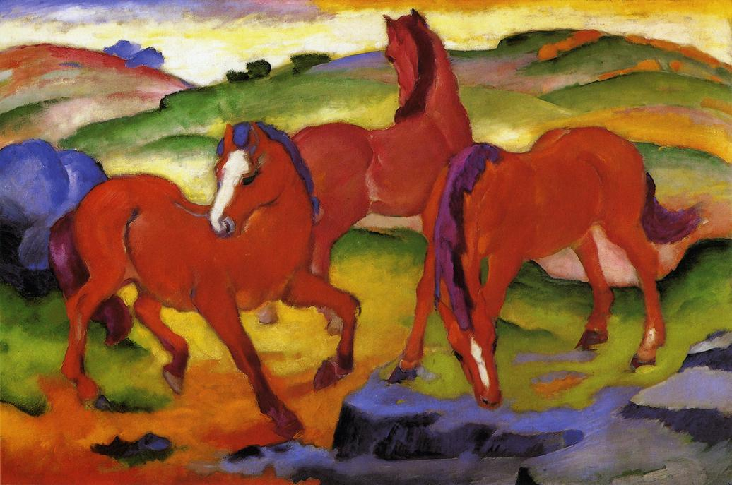 Grazing Horses IV (also known as The Red Horses), Oil On Canvas by Franz Marc (1880-1916, Germany)