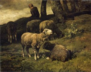 Charles Émile Jacque - Grazing Sheep with a Sheperdhess Beyond
