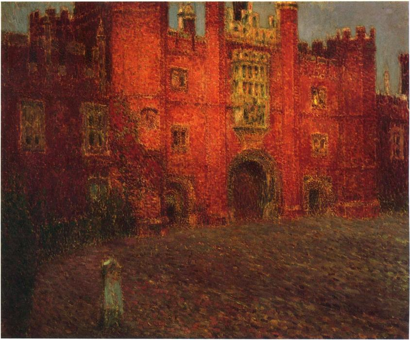 The Great Gate at Hampton Court, Oil On Canvas by Henri Eugène Augustin Le Sidaner (1862-1939, Mauritius)
