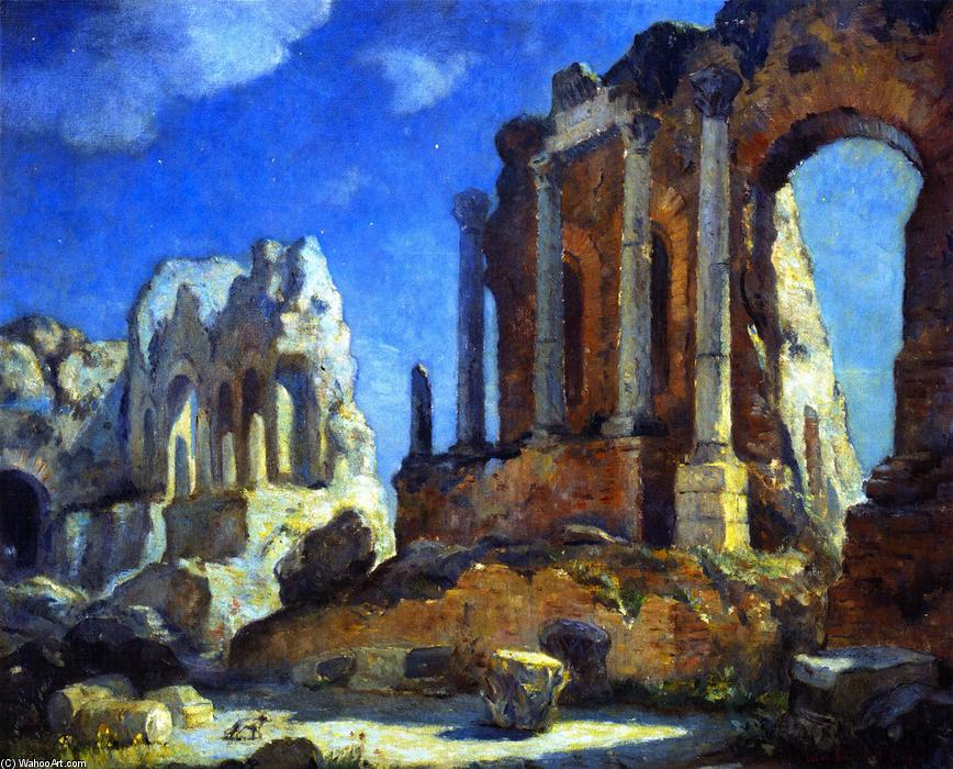 Greco-Roman Theater at Night, Taormina, Sicily, 1933 by Colin Campbell Cooper (1856-1937, United States) | Famous Paintings Reproductions | WahooArt.com
