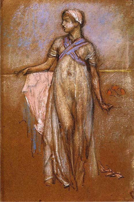 The Greek Slave Girl (also known as Variations in Violet and Rose), 1885 by James Abbott Mcneill Whistler (1834-1903, United States) | Art Reproduction | WahooArt.com