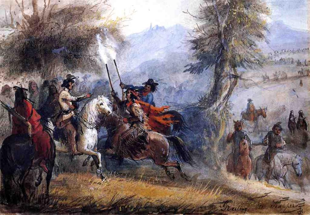 Greeting the Trappers, 1837 by Alfred Jacob Miller (1810-1874, United States) | Art Reproduction | WahooArt.com