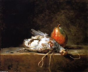 Jean-Baptiste Simeon Chardin - Grey Partridge, Pear and Snare on a Stone Table