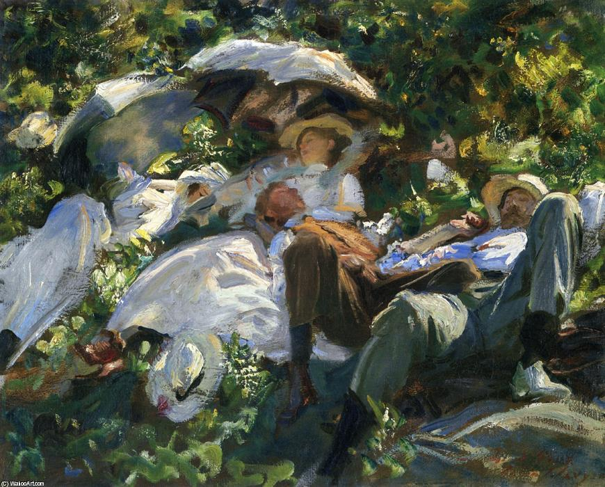 Group with Parasols (also known as A Siesta), Oil On Canvas by John Singer Sargent (1856-1925, Italy)