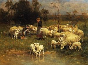 Charles Émile Jacque - Guarding the Flock