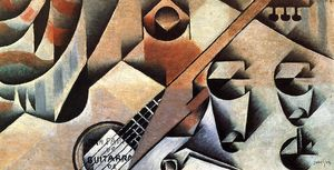 Juan Gris - Guitar and Glasses (also known as Banjo and Glasses)