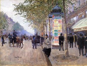 Jean Georges Béraud - Hailing a Cab outside the Cafe Americain