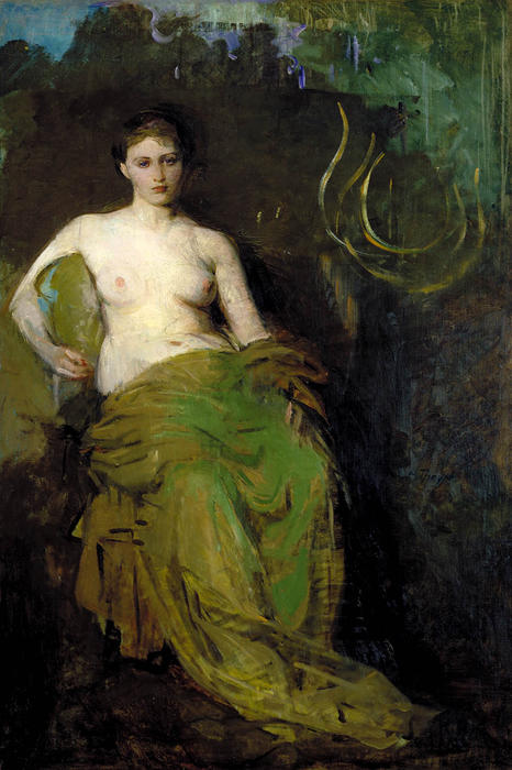 Half Draped Figure, Oil On Canvas by Abbott Handerson Thayer (1849-1921, United States)