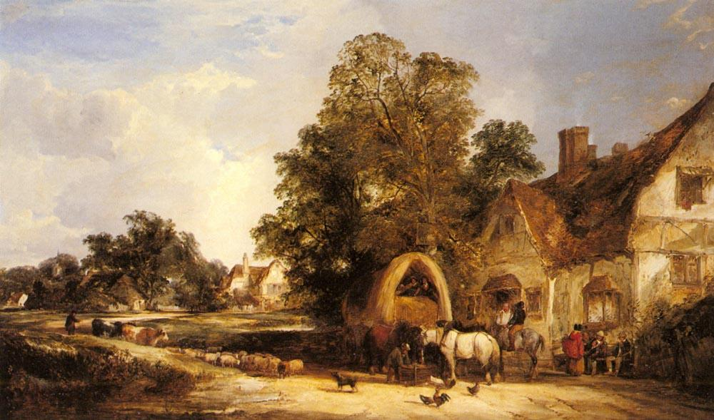 The Half Way House, Thatcham, 1848 by William Shayer Senior (1788-1879, United Kingdom) | Art Reproduction | WahooArt.com
