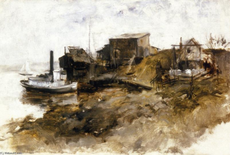 Harbor View, 1879 by John Henry Twachtman (1853-1902, United States) | Museum Art Reproductions John Henry Twachtman | WahooArt.com