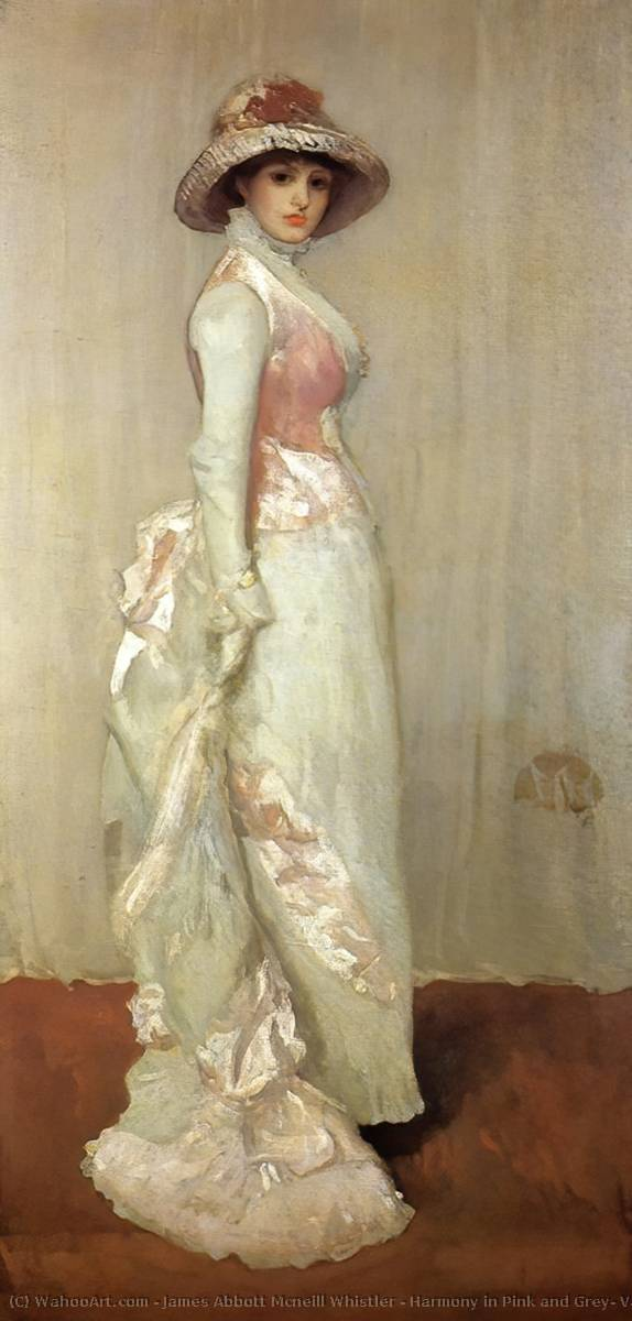 Harmony in Pink and Grey: Valerie, Lady Meux, 1881 by James Abbott Mcneill Whistler (1834-1903, United States) | Museum Quality Reproductions | WahooArt.com