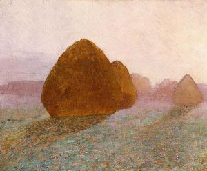 John Leslie Breck - Haystack at Giverny, Normandy: Sun Dispelling Morning Mist