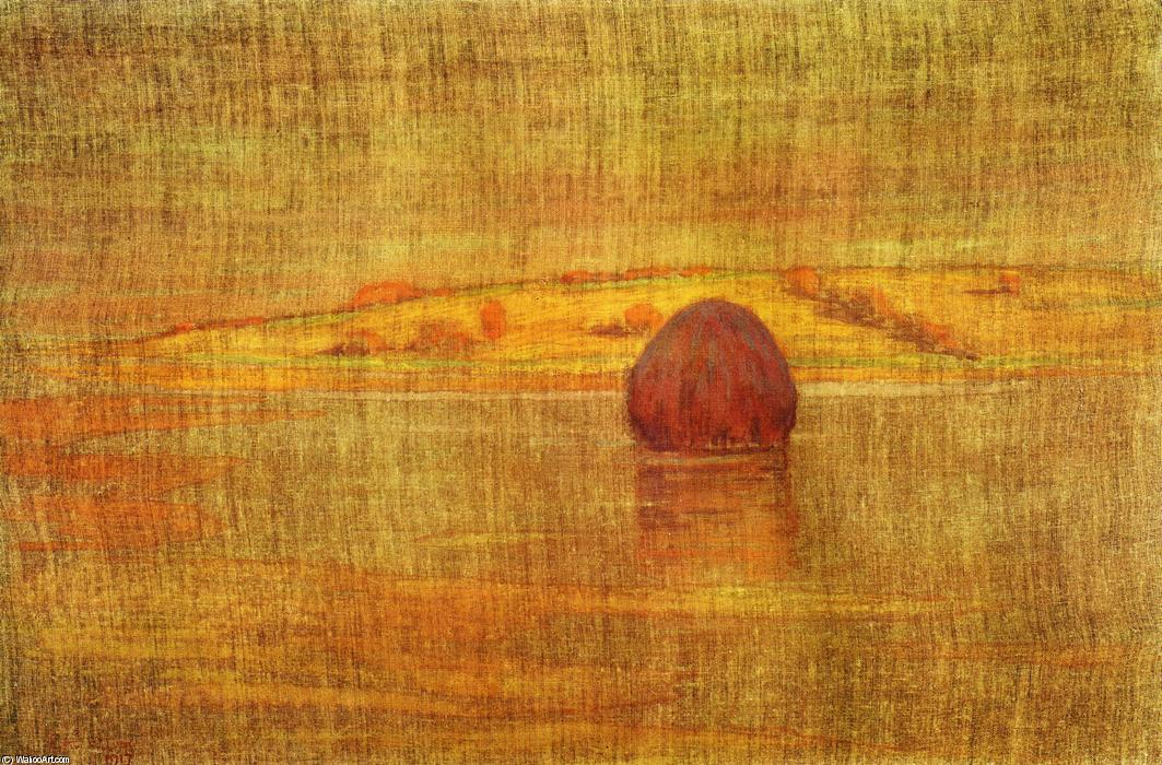 Haystack in an Ipswich Marsh, 1917 by Arthur Wesley Dow (1857-1922, United Kingdom) | Famous Paintings Reproductions | WahooArt.com