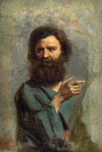 Jean Baptiste Camille Corot - Head of Bearded Man (also known as Study for 'The Baptism of Christ')