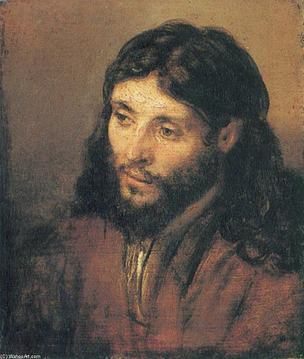 Head of Christ, 1650 by Rembrandt Van Rijn (1606-1669, Netherlands) | Paintings Reproductions Rembrandt Van Rijn | WahooArt.com