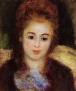 Pierre-Auguste Renoir - Head of a Young Woman Wearing a Blue Scarf (also known as Madame Henriot)