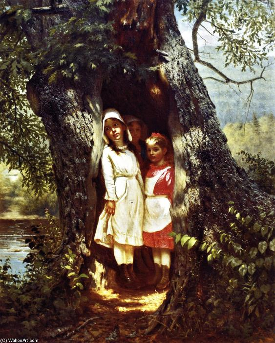 Hiding in the Old Oak, Oil On Canvas by John George Brown (1831-1913, United Kingdom)