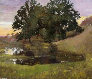 Order Famous Paintings Reproductions : Hillside Pool, 1900 by Arthur Wesley Dow (1857-1922, United Kingdom) | WahooArt.com