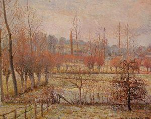 Camille Pissarro - Hoarfrost, Morning (also known as Snow Effect in Eragny)