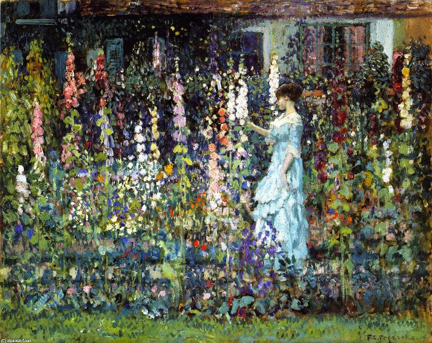 Hollyhocks, 1913 by Frederick Carl Frieseke (1874-1939, United States) | Museum Art Reproductions Frederick Carl Frieseke | WahooArt.com