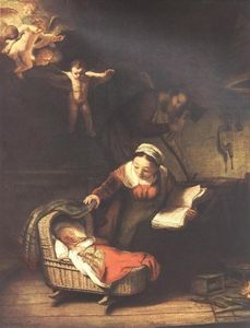 Rembrandt Van Rijn - The Holy Family with Angels