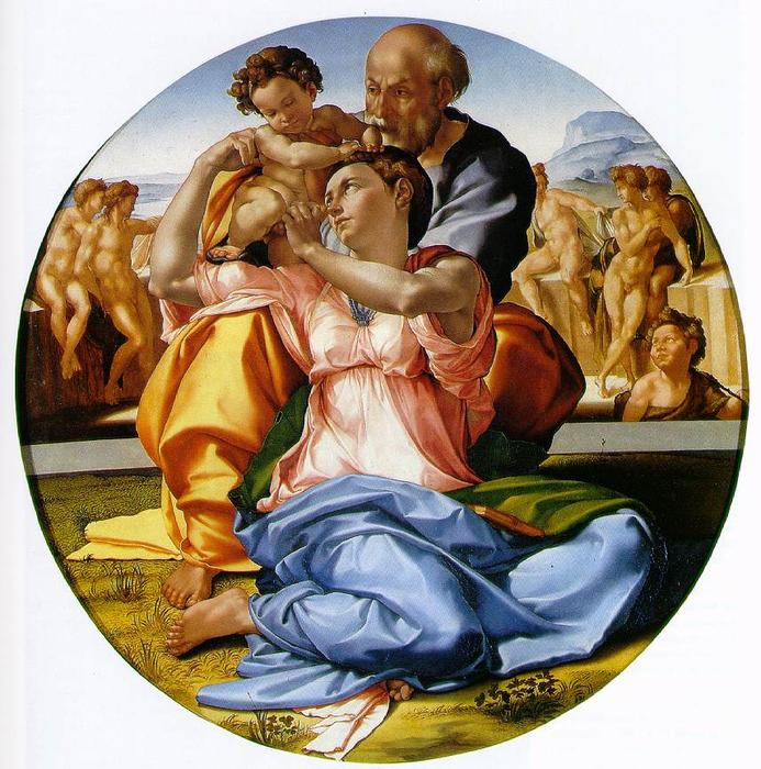 The Holy Family with the infant St. John the Baptist (the Doni tondo), Oil On Panel by Michelangelo Buonarroti (1475-1564, Italy)
