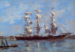Eugène Louis Boudin - Honfleur, Three Master in Port