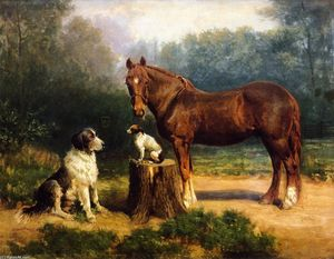 Henry Ossawa Tanner - Horse and Two Dogs in a Landscape