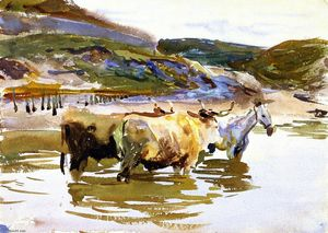 John Singer Sargent - A Horse and Two Oxen at a Ford (also known as Oxen Crossing a Ford)