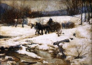 Frits Thaulow - Horse Drawn Carts in Winter