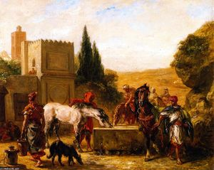 Eugène Delacroix - Horses at a Fountain