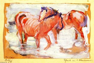 Franz Marc - Horses at a Watering Place