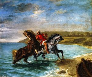 Eugène Delacroix - Horses Coming Out of the Sea
