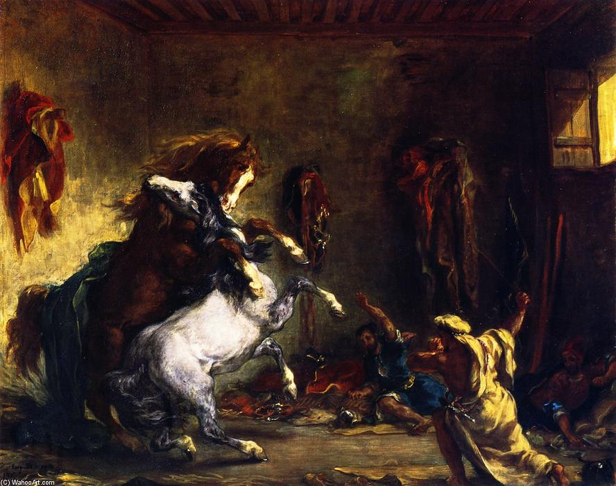 Horses Fighting in a Stable, Collage by Eugène Delacroix (1798-1863, France)